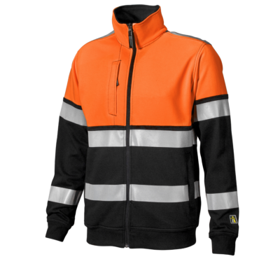 SWEATJAKKE KL.1 ORANGE/SVART
